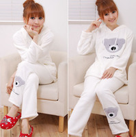 Wholesale Cute bear Women s coral fleece sleepwear ladies long sleeve pajamas nightwear nightgown set