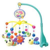 Wholesale Cute bee rotating infant bed bell battery operated music mobile with songs freeshipping