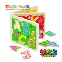 Wholesale 26 letter puzzle wood books puzzle toy child intelligence toys