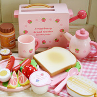 Wholesale Mother garden children s wood playhouse game toy toast bread toaster kids wooden kitchen toys set