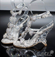 Cheap Gorgeous Women's Dazzing High Heels Beading Peep Toe Evening Prom Party Dresses Lady Bridal Wedding Shoes