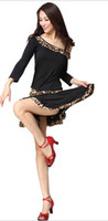 Wholesale New Latin Dance Dresses Boat Neck Leopard Skirts Ladies Skirts Rumba Samba Skirts Performance Skirts