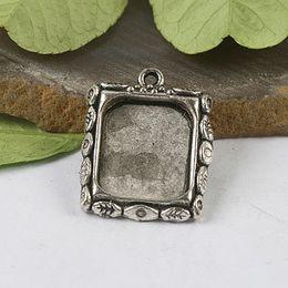 16pcs Tibetan silver leaf rim picture frame charm H0331