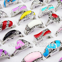Wholesale jewerly Mix colored Enamel Rhinestones Fashion rings