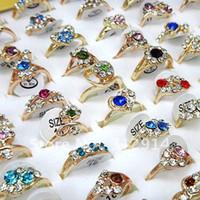 Wholesale Jewerly Mulitcolored Austria Rhinestones Gold Fashion Rings Mix