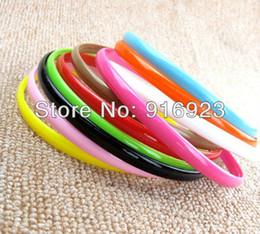 Wholesale 8mm Fashion Women Solid Candy Colors Headband Nylon Alice Band Elegant Plastic Hair Band Ring Rope Headwear in OPP Bags