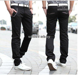 Wholesale new casual slim pants for men straight pants south korean fashion flat trousers black