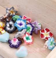 Ceramic, Clay, Porcelain flower polymer clay beads - 80 Colorful Polymer Clay Flowers Beads mm