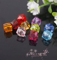 Wholesale 500 Plastic Colorful Faceted Square Beads MM