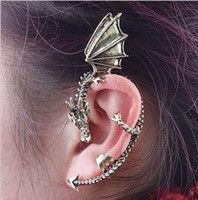 Wholesale Dragon form Earring New Alchemy Gothic Dragons Lure Cuff Pewter Earring Punk Ear Stud Hoop amp Huggie