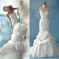 Wholesale 2012 Designer StraplessEmbroidery Ruffle Taffeta White Lace Up Mermaid Wedding Dresses wd030