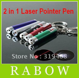 Wholesale 350pcs in Red Laser Pointer Pen Led white Light Torch Keychain