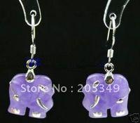 Dangle & Chandelier   Pair 18K GP Purple Jade Elephant Earring