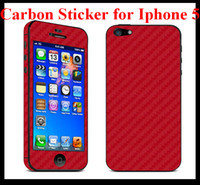 Wholesale Carbon Fiber Vinyl Full Body Sticker Skin Protector Guard for Apple Iphone G iphone5 mix colors