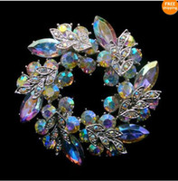 Wholesale Fashion Unique Style Clear AB Color Rhinestone Crystal Wrealth Brooch pins