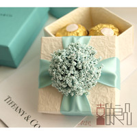 Wholesale Green Cute Flowers Pattern Style Wedding Candy Box Case With Silk Ribbon Wraps Wedding Party Gift