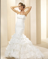 Trumpet/Mermaid dhagte - Dhagte Mermaid Strapless Applique Removed Skirt Ruffles Organza Wedding Dress EYK945