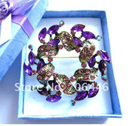 Wholesale Bronze Plated Purple Rhinestone Crystal wreath and Floral Brooch Jewelry