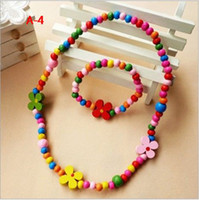Wood Bracelet  Wood Bauble Bracelet & Necklace 2-pcs Set Girls Sunflower Bead Necklace set Bauble jewelry 50set lot
