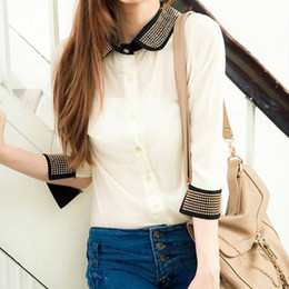 Wholesale WOMEN S CHIC BLOCK PATCHWORK HALF SLEEVE CHIFFON TOP WHITE shirts drop shipping