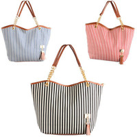 Wholesale WOMEN S MARINE STRIPES BAG CANVAS BAG WITH FRINGE BAG drop shipping