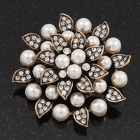Other antique clear glass plates - Antique Copper Plated Clear Rhinestone Crystal and Cream Pearl Leaf Flower Bridal Brooch
