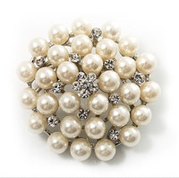 Wholesale Silver Plated Ivory Cream Pearl and clear Rhinestone Crystal Party Brooch