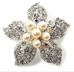 Beautiful Silver Plated Rhinestone Crystal Cream Pearl Star Corsage Flower Brooch