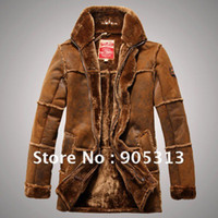Wholesale Brand New Men beige gray brown Shearling SHEEPSKIN Suede Leather Fur zipprd Coat warm winter Jacket