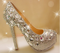 Unique Sparkling Crystal Diamond Wedding Bridal Shoes High H...