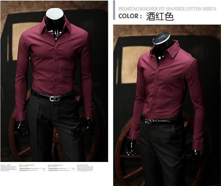 Wine red mask placket men slim fit long sleeved shirt for Red wine out of white shirt