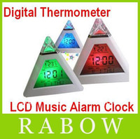 Wholesale 50pcs RA Colorful Digital LED Pyramid Mood Electronic Car Thermometer LCD Music Alarm Clock