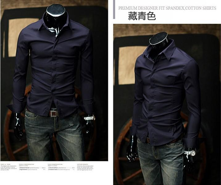 Navy Blue Mask Placket Men Slim Fit Long-sleeved Shirt Business ...
