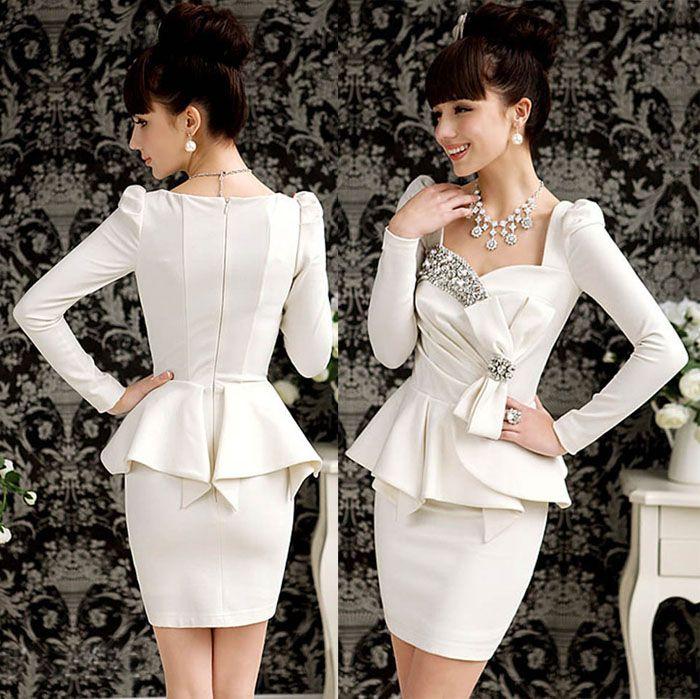 Elegant 2014 Dress Women Ladies Bling Long Sleeve Formal Dresses