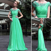 Wholesale 80 On For Christmas Popular Prom Dresses A Line Sweep Train Short Sleeve Scoop Hollow Ruched Beads Lace Sexy Beautiful Party Dresses