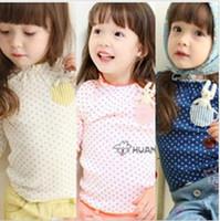 Girl   Hot New Cute Children's t -shirt Baby Girls T-shirts baby long-eared rabbit long-sleeved tee-shirt