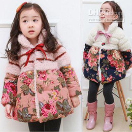 Discount winter baby windproof baby floral parkas thick winter long style jacket girl's warm flowers printing Windproof overcoat hk