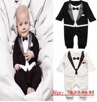 Boy baby tux - Hot New Baby Boys Girl Tuexdo Onesies Formal Bodysuits Bowtie Tie Tux Boys Wedding Party Tuexdos