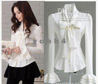 Wholesale blouse Sweet Long sleeve women Elegant large bow speaker sleeves Slim S size S M