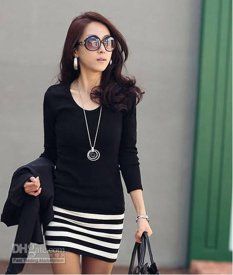 Discount Long Sleeve Dresses Women Korean Fashion Slim Sexy Black