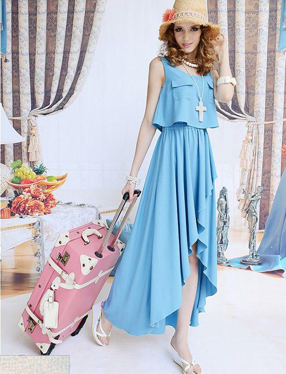 2013 long casual summer dress blue women fake two pieces