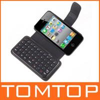Mini teclado inalámbrico Bluetooth + caja de cuero para el iPhone 4, envío libre