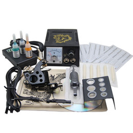 Wholesale Professional complete cheap tattoo starter kits machines ink sets needles grips tubes power arrive within days T1