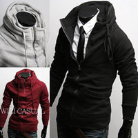Wholesale South Korean Men s apparel single zipper hoodies High neck cotton cardigan black light