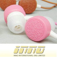 Wholesale Straight PLug In ear Stereo Headphones Biscuit Wired Earphones without Mic Clear Sound