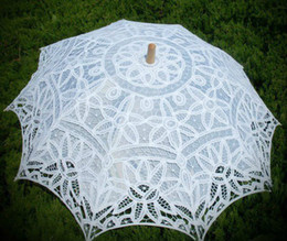 Wholesale Elegante Vintage Battenberg Lace Parasol Sun Umbrella in White Handmade for Wedding