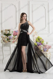 Wholesale Hot Stylish Black One shoulder A line Crystal Beaded Ruffles Floor Length Prom Dresses xyy07