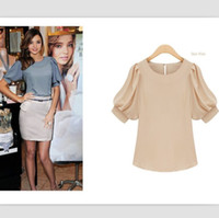 Wholesale Hot sale lady elegant blouses round neck short puff sleeve OL work blouses Korea fashion blouse