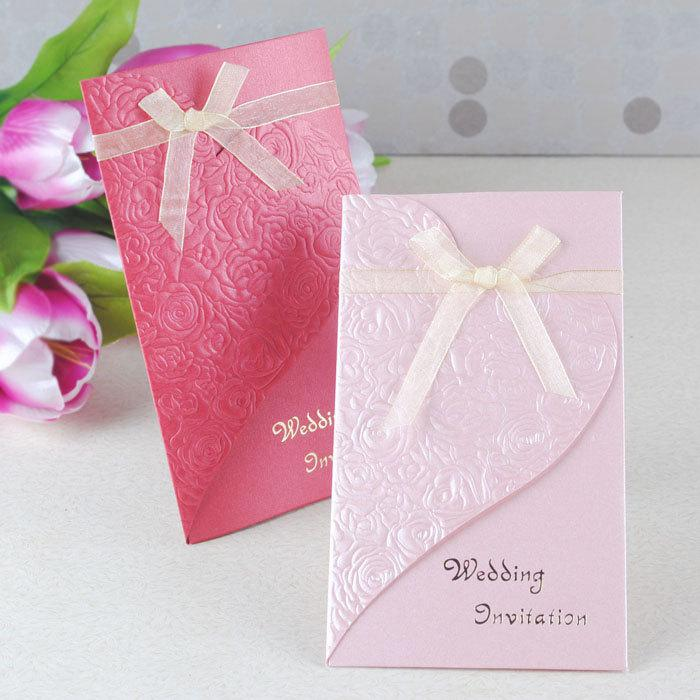 Romantic wedding invitation card,wedding card bowknot 4colors 200pcs ...
