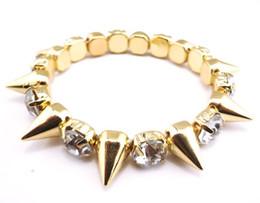 Punk Style Gold Silver Plated Tone Rivets Rhinestone Stretch Bracelet